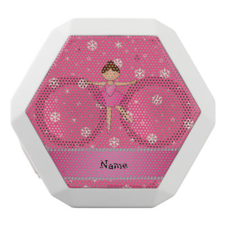 Personalized name ballerina pink snowflakes white boombot rex bluetooth speaker