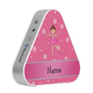 Personalized name ballerina pink snowflakes bluetooth speaker