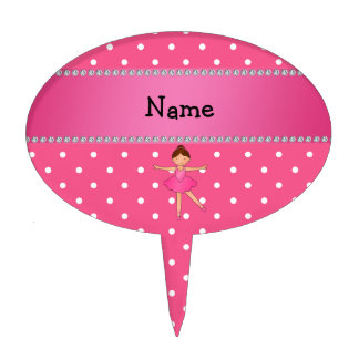 Personalized name ballerina pink white polka dots cake toppers