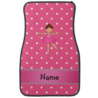 Personalized name ballerina pink white polka dots car mat