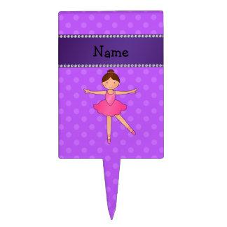 Personalized name ballerina purple polka dots cake pick