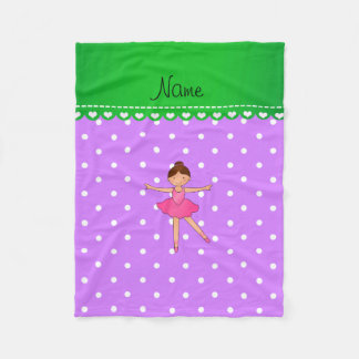 Personalized name ballerina purple white polka dot fleece blanket