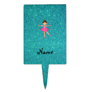 Personalized name ballerina turquoise glitter cake toppers
