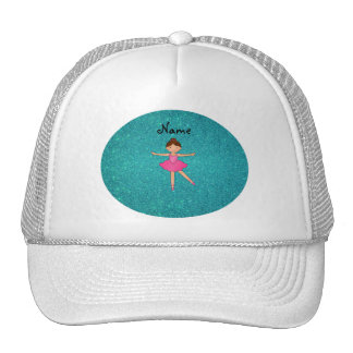 Personalized name ballerina turquoise glitter trucker hat