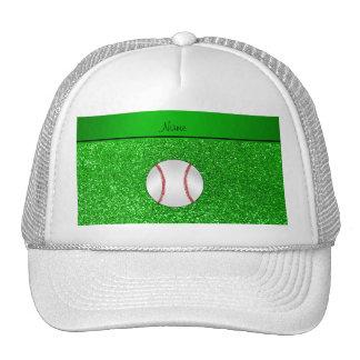 Personalized name baseball lime green glitter mesh hat