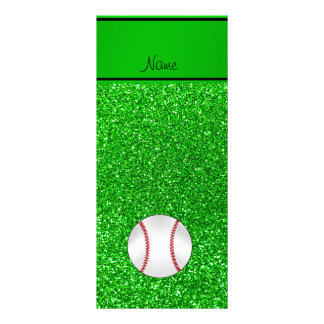 Personalized name baseball lime green glitter rack cards