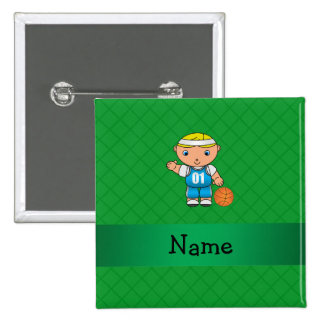 Personalized name basketball player green criss 15 cm square badge