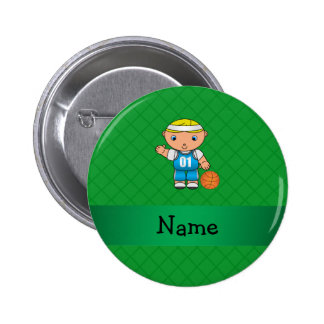 Personalized name basketball player green criss 6 cm round badge