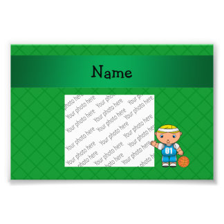 Personalized name basketball player green criss photographic print