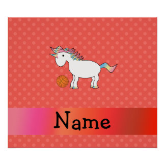 Personalized name basketball unicorn orange polka poster