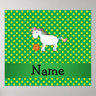 Personalized name basketball unicorn stars poster