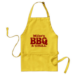 Personalized name BBQ apron for men | Red yellow