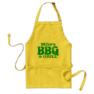 Personalized name BBQ apron for men   Yellow green