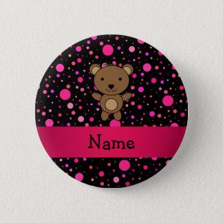 Personalized name bear black pink polka dots 6 cm round badge
