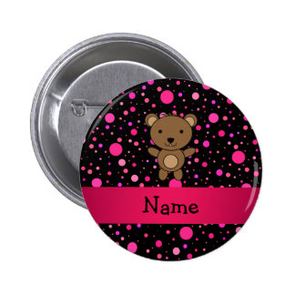 Personalized name bear black pink polka dots 6 cm round badge