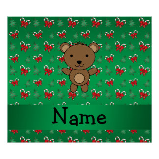 Personalized name bear green candy canes bows poster