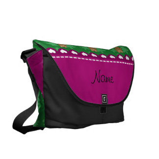 Personalized name bear green christmas trees commuter bags