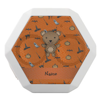 Personalized name bear halloween pattern white boombot rex bluetooth speaker