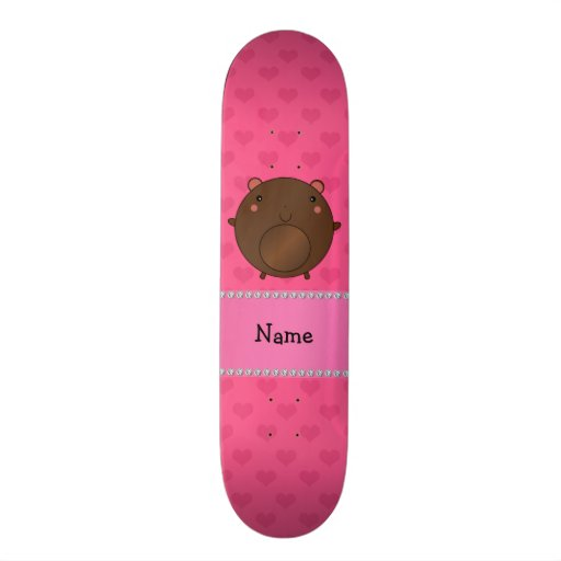 Personalized name bear pink hearts custom skate board
