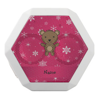 Personalized name bear pink snowflakes white boombot rex bluetooth speaker