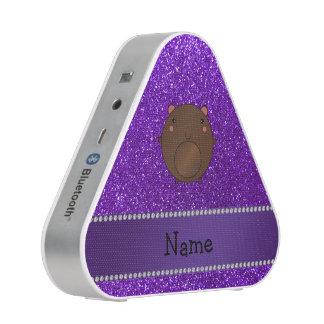 Personalized name bear purple glitter