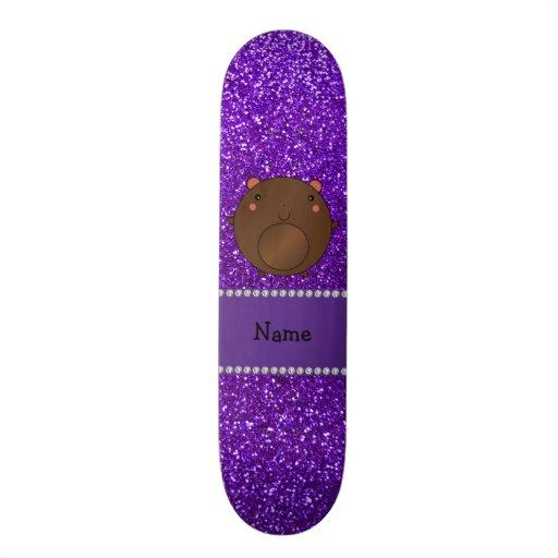 Personalized name bear purple glitter skate decks