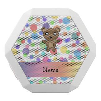 Personalized name bear rainbow polka dots white boombot rex bluetooth speaker