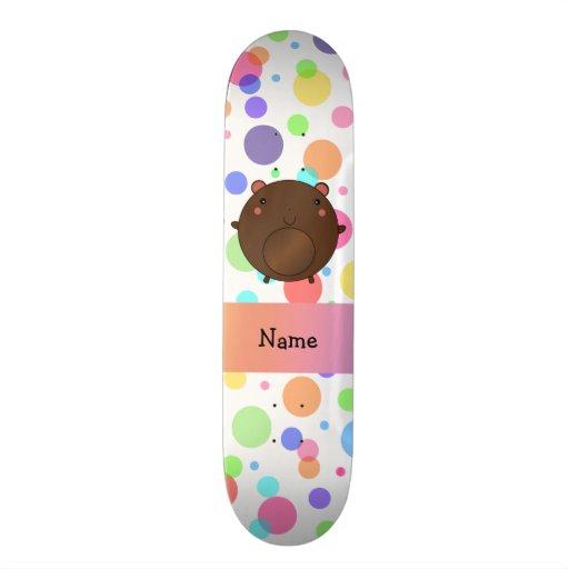 Personalized name bear rainbow polka dots skateboard deck