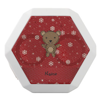 Personalized name bear red snowflakes white boombot rex bluetooth speaker