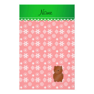 Personalized name bear red snowflakes green stripe custom stationery
