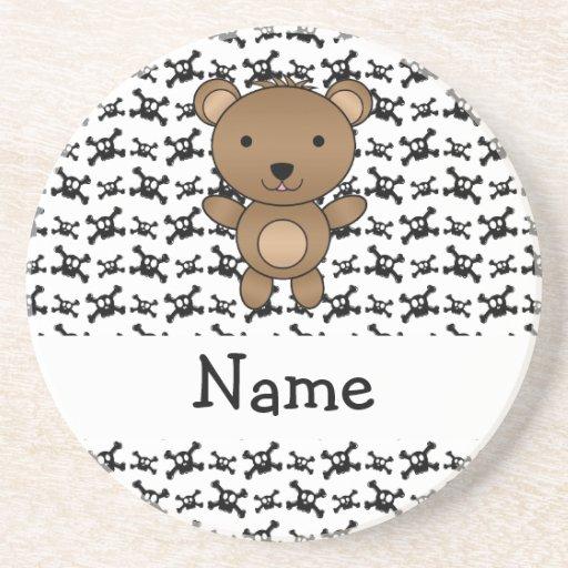 Personalized name bear skulls pattern coaster
