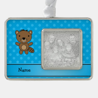 Personalized name beaver blue polka dots silver plated framed ornament