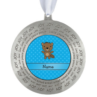 Personalized name beaver blue polka dots round pewter ornament
