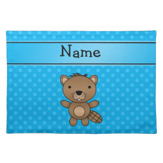 Personalized name beaver blue polka dots place mat