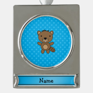 Personalized name beaver blue polka dots silver plated banner ornament