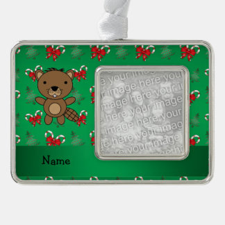 Personalized name beaver green candy canes bows silver plated framed ornament