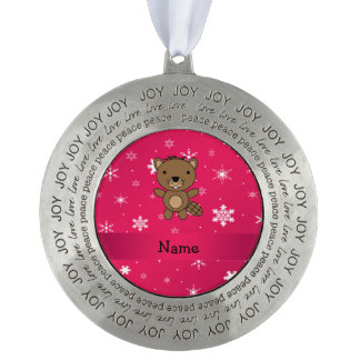 Personalized name beaver pink snowflakes round pewter ornament
