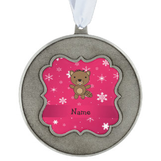 Personalized name beaver pink snowflakes scalloped pewter ornament