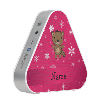 Personalized name beaver pink snowflakes speaker