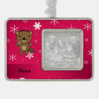 Personalized name beaver pink snowflakes silver plated framed ornament
