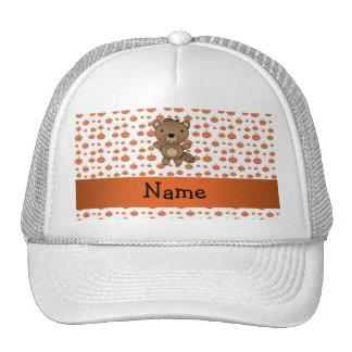 Personalized name beaver pumpkins pattern mesh hats