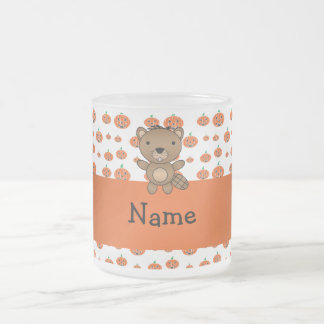 Personalized name beaver pumpkins pattern mugs