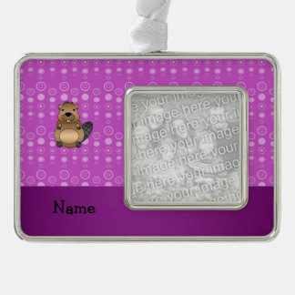 Personalized name beaver purple bubbles silver plated framed ornament