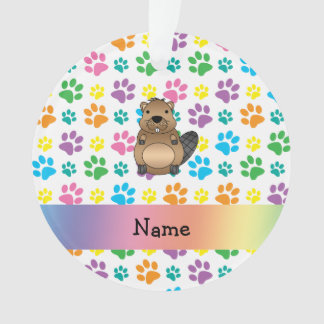 Personalized name beaver rainbow paws