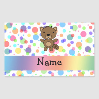 Personalized name beaver rainbow polka dots rectangular sticker