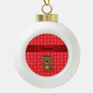 Personalized name beaver red christmas trees ornament