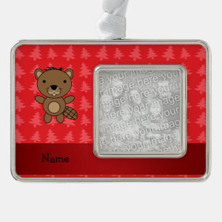Personalized name beaver red christmas trees silver plated framed ornament