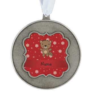 Personalized name beaver red snowflakes scalloped pewter ornament