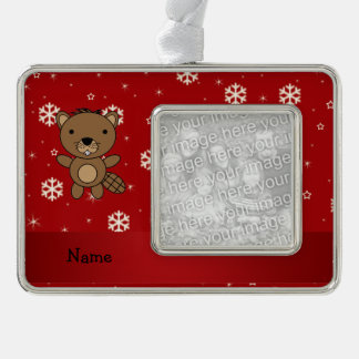 Personalized name beaver red snowflakes silver plated framed ornament