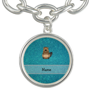 Personalized name beaver turquoise glitter